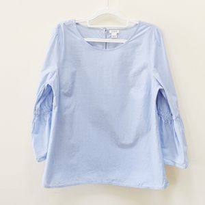 J Crew| Blue Cotton Top/Shirt Bell Sleeves Size M